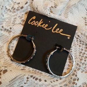 Cookie Lee crystal hoop earrings